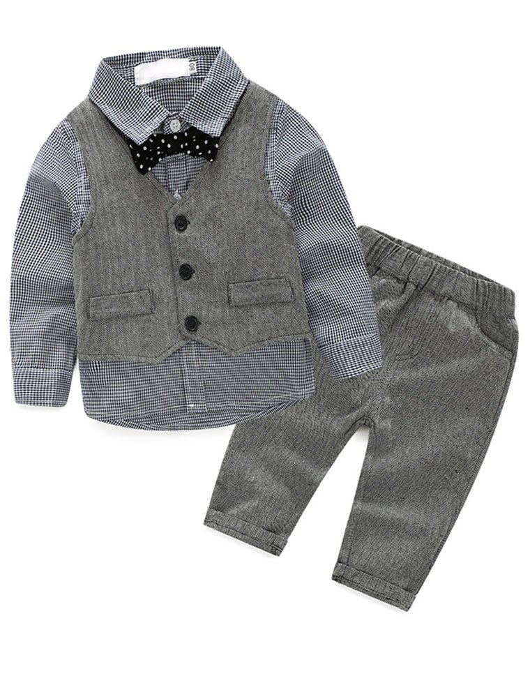 Abolai Baby Boys' 3 Piece Vest Set with Shirt,Vest and Pant Grey 80