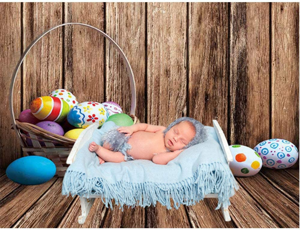 Allenjoy 5x7ft Happy Easter Brown Rustic Wood Backdrop Photography Spring Colorful Eggs Kids Newborn Portrait Photoshoot Background Pictures Baby Shower Birthday Party Decor Banner Photo Booth Props
