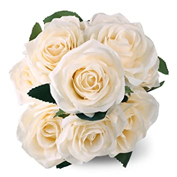 Silk Rose Cream 10 Heads SOLEDI Artificial Flower French Rose Fake For  Bridal Bouquet Wedding Living