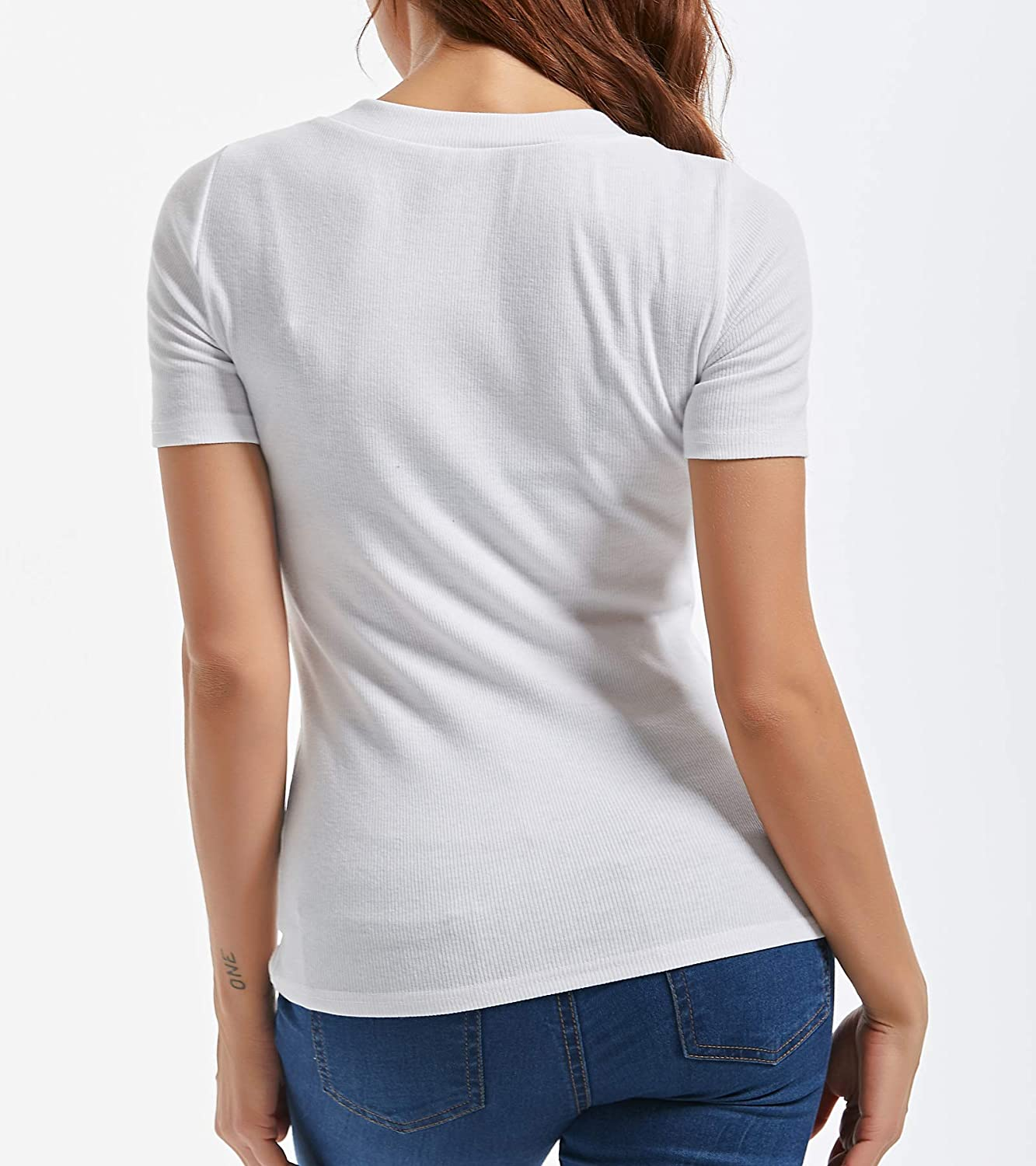 AOYOG Womens Button V Neck Tee Petite Short Sleeve Blouse Tops T Shirts
