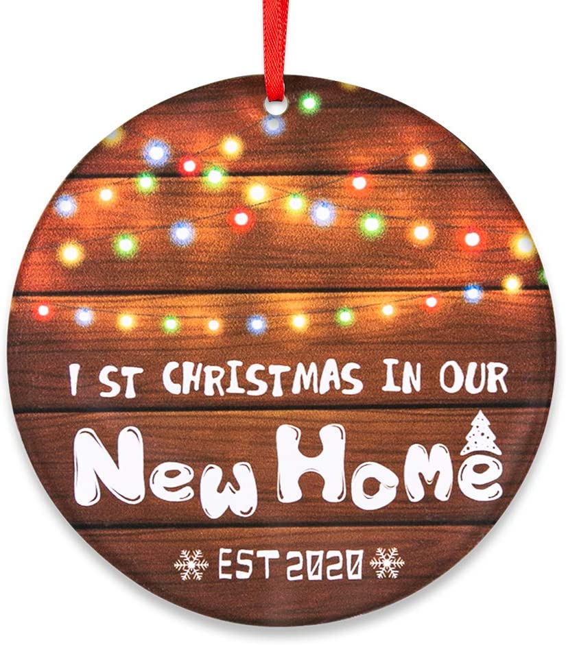 "SICOHOME Our First Christmas in Our New Home 2020, 3"" New House Christmas Ornament,Housewarming Gift for Xmas Tree Decoration"