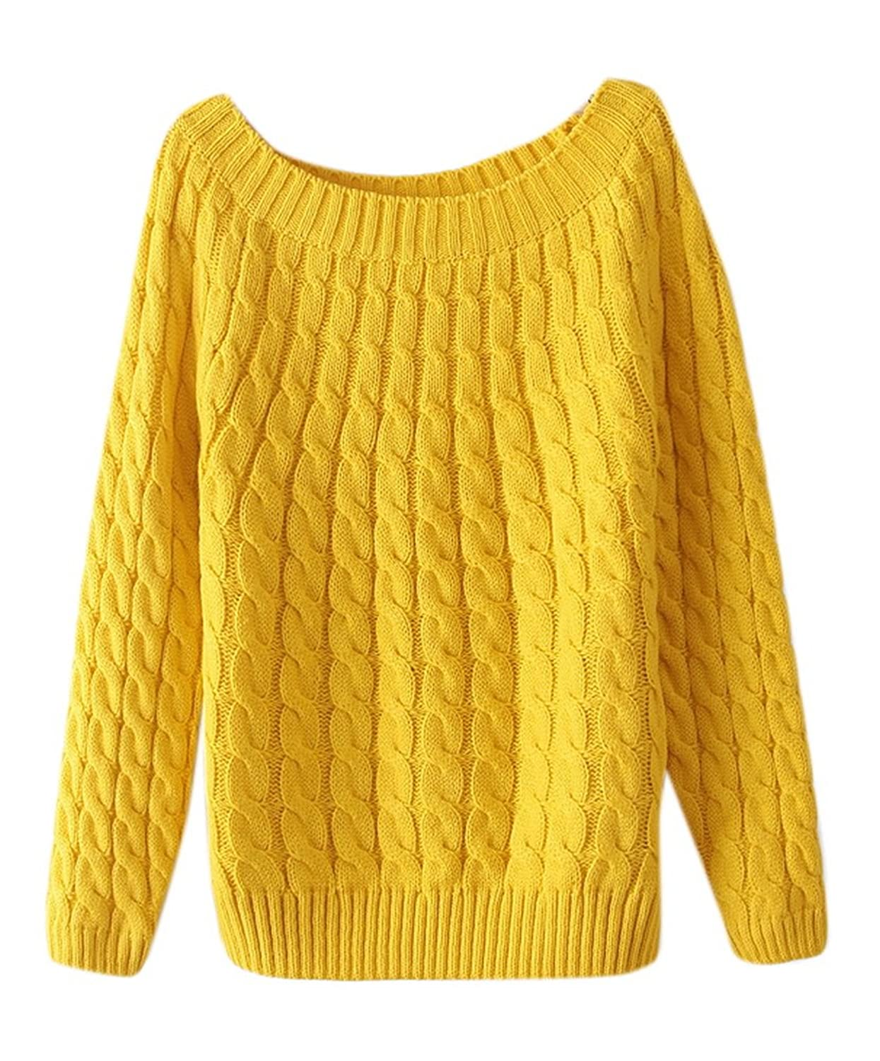 Lingswallow Women Classic Cable Knitted Loose Crew Neck Pullover Sweater