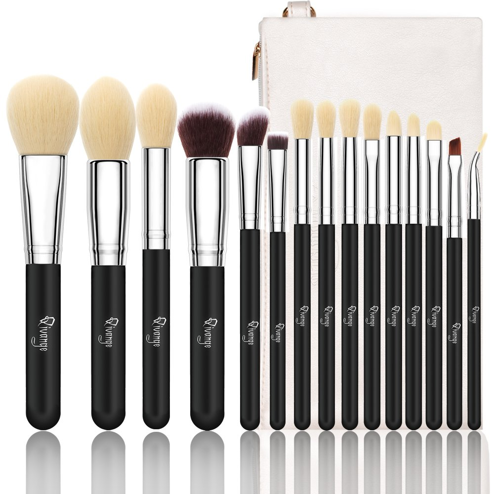 Qivange Makeup Brushes, Synthetic Eyeshadow Bronzer Foundation Brushes(15pcs, Black with Silver)