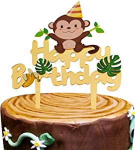 Gold Acrylic Monkey Happy Birthday Cake Topper, Monkey Birthday Cake Decor, Safari Jungle Themed Birthday Party Supplies, Zoo Animals Centerpiece