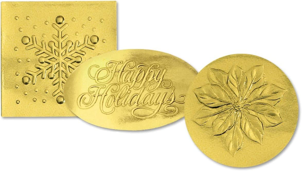 Holiday Gold Foil Embossed Stickers Seasonal Decorative Envelope Seals 40 Piece Set