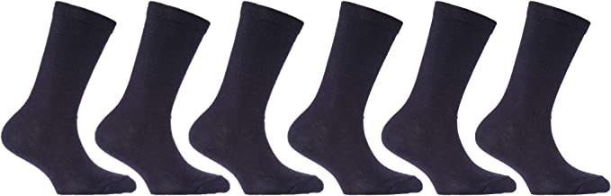 6 Pairs Boys Girls Back to School Cotton Rich Ankle Socks Navy various sizes