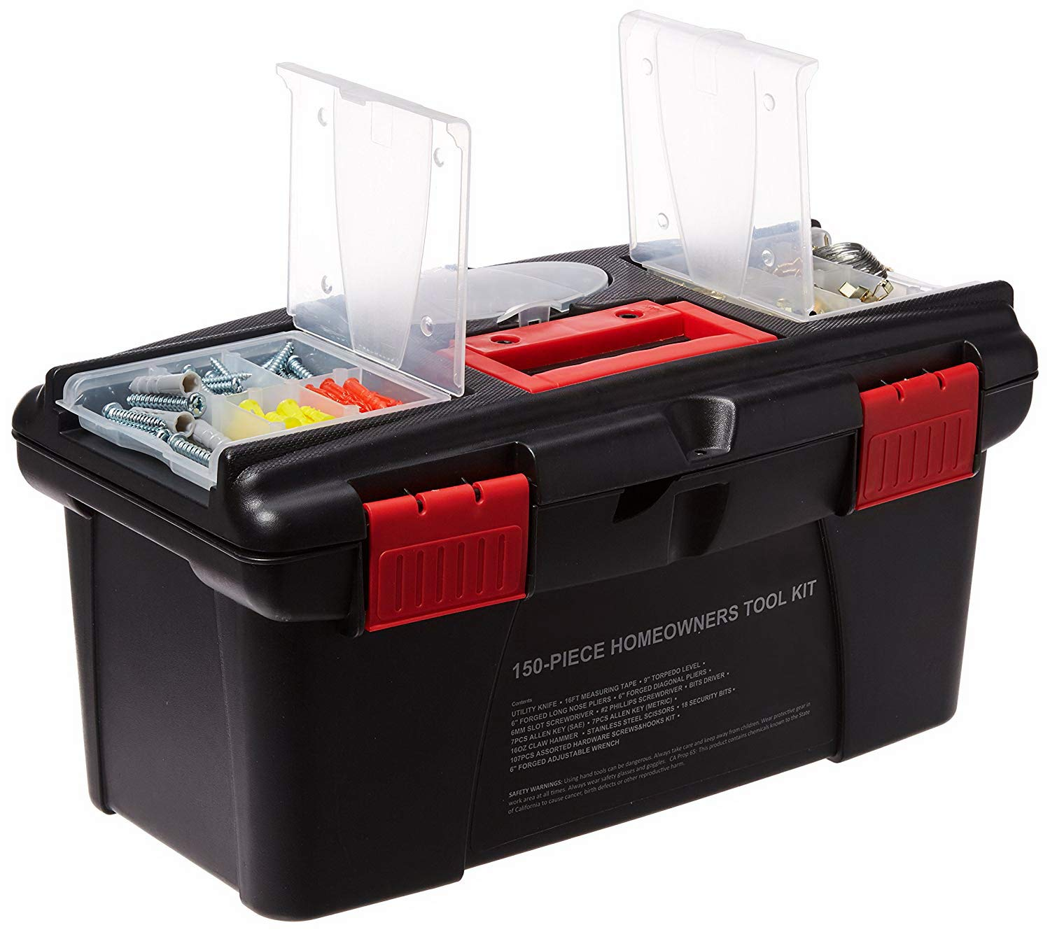 Tool Kit. Best Portable Big Basic Starter Professional Household DIY Hand Mixed Repair Set W/Plastic Storage Box For Home, Garage, Office For Men&Women. Includes Screwdriver, Wrench, Pliers, Etc.