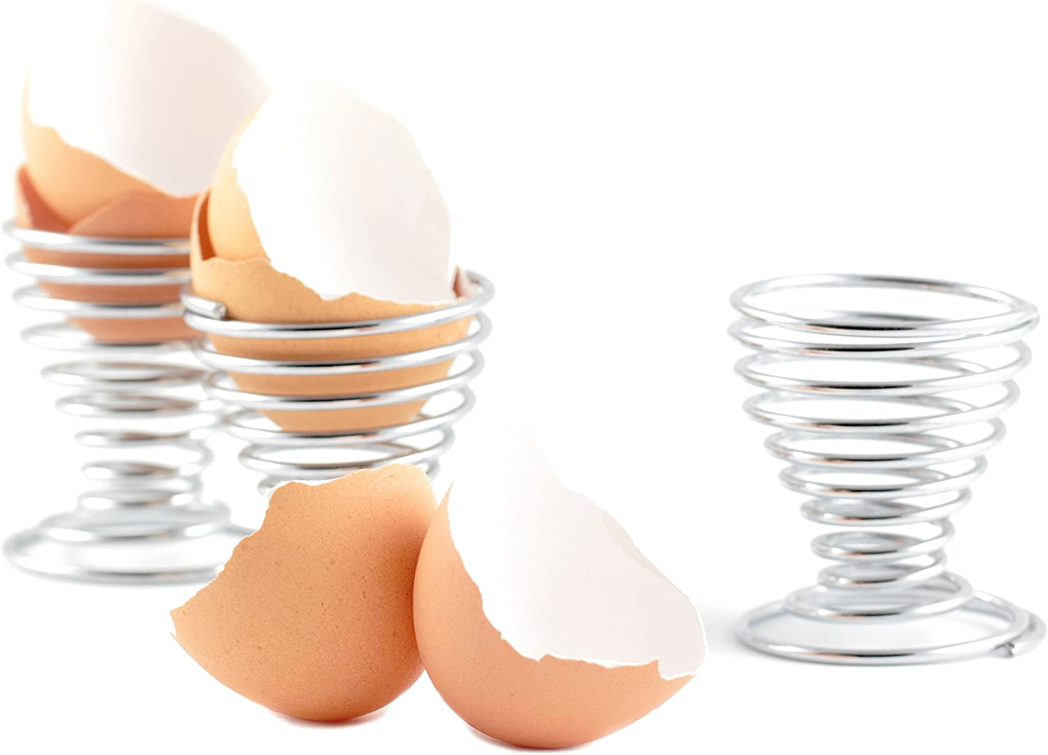 Chrome-Plated Steel Spring Wire Easter Egg Display Holder Serving Cups Set of 6 MyGift