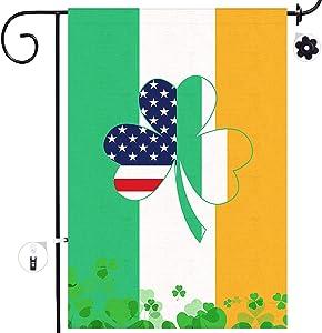Bonsai Tree Irish Garden Flag, Double Sided Ireland and American Burlap House Flags 12x18 Prime, National Country Shamrocks Yard Signs Farmhouse Home Outdoor Decor