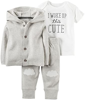 74491bf30 Carter's Baby Boys'I Woke Up This Cute 3-Piece Outfit: Amazon.co.uk:  Clothing