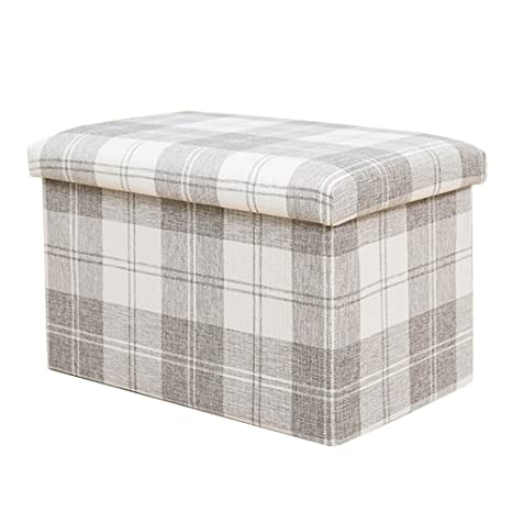 Peachy Amazon Com Dasior Collapsible Cube Storage Ottoman Plaid Machost Co Dining Chair Design Ideas Machostcouk