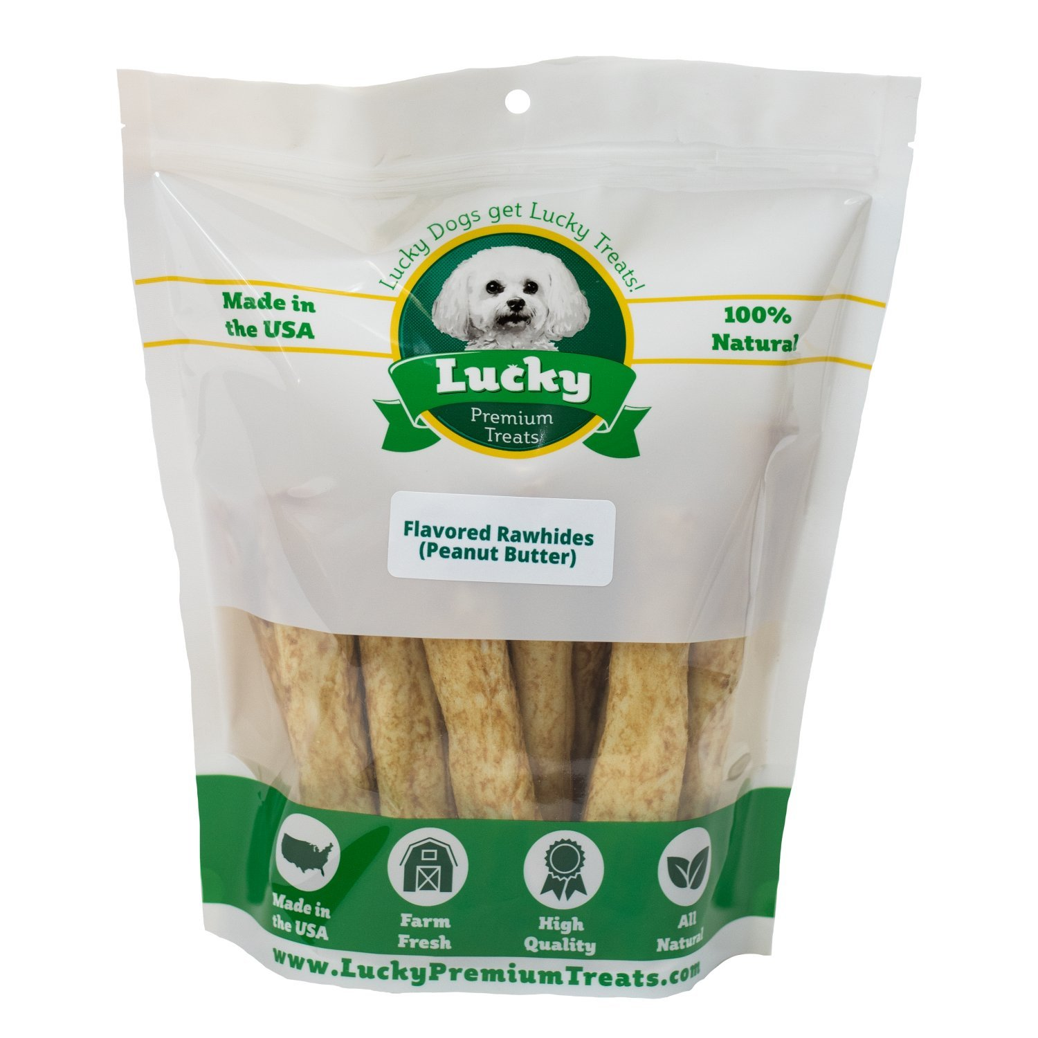 Lucky Premium Treats Peanut Butter Flavored Rawhide Dog Treats for Medium Dogs Made in the USA Only by, 20 Chews
