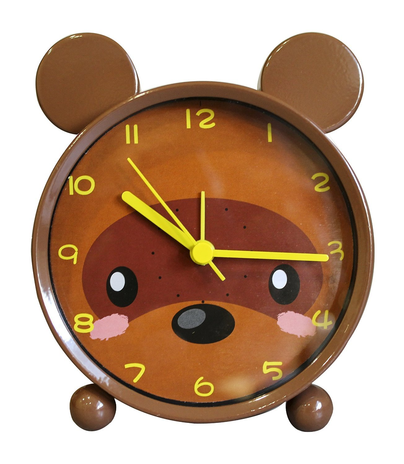 Children Alarm Clock - Metal Frame - Quiet- Kid Alarm Clock - Animal Themed - Boys Girls - 3 Models (Bear(Brown))