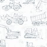 York Wallcoverings KS2350 Cool Kids Construction Blueprint Wallpaper, White/Blue-Grey/Prussian Blue