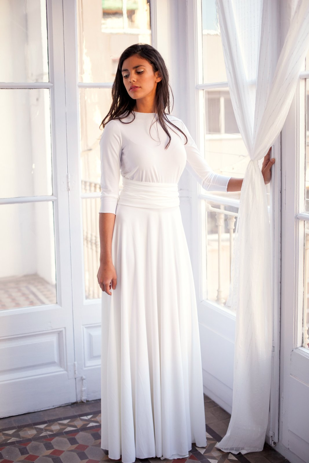 Long sleeved wedding dress, ivory white bridal gown with 3/4 sleeve, white wrap dress, convertible wedding dress, wedding dress with sleeves