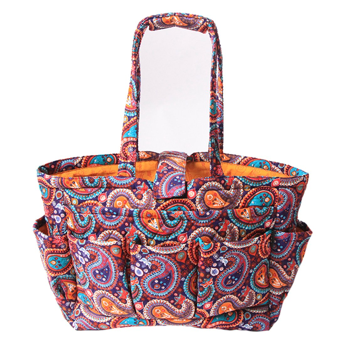 Floral Quilted Cotton Needle Bag Knitting Bag Yarn Storage Tote (Purple Paisley)
