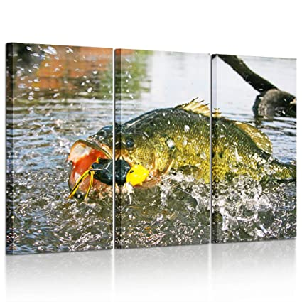 Kreative Arts   Large 3 Panels Canvas Printed Wall Art Poster Largemouth  Bass Fishing Picture Giclee