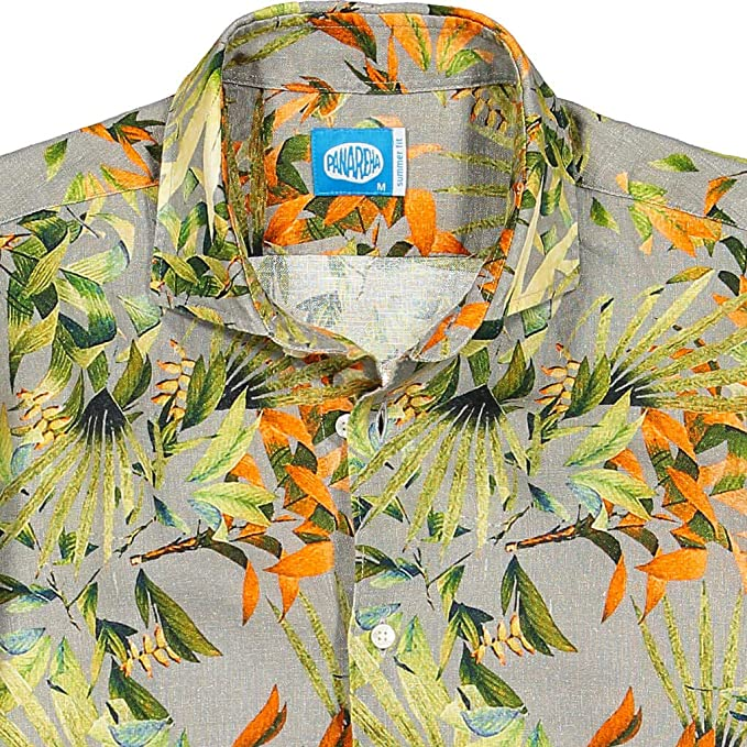 new products a409e d9129 Panareha Camicia di Lino Fiori da Uomo Maui Grigio: Amazon ...