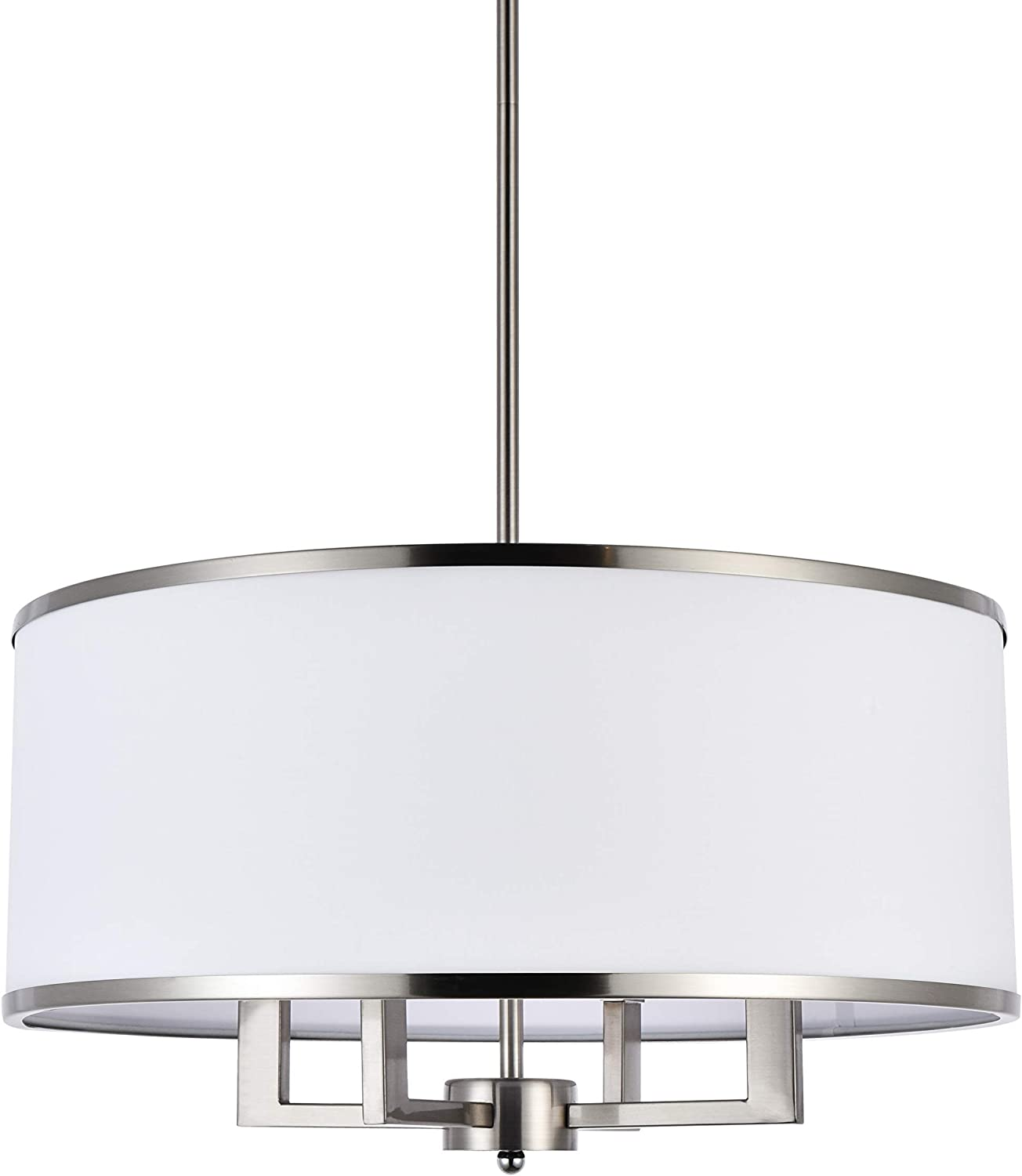 A1A9 Classic 4-Light Drum Pendant Lighting Fixture, 20'' White Fabric Shade, Vertical Rod Semi Flush Mount Ceiling Lights, Brushed Nickel Chandelier for Foyer Entryway Hallway Dining Room