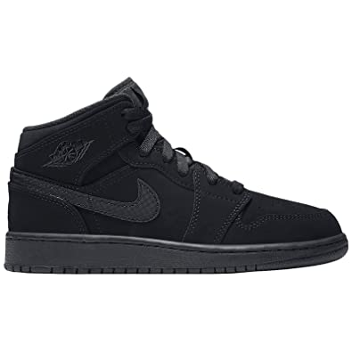 d77045827df84 Nike Boy s Air Jordan 1 Mid Basketball Shoe (GS) Black White-Black