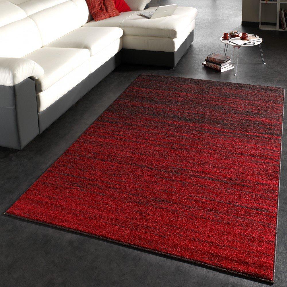 Tappeto dal design moderno, in pile corto, colore: Rosso/Marrone ...