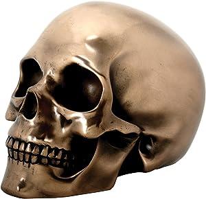 SUMMIT COLLECTION Decorative Bronze Colored Skull Head Skeleton Figurine Statue