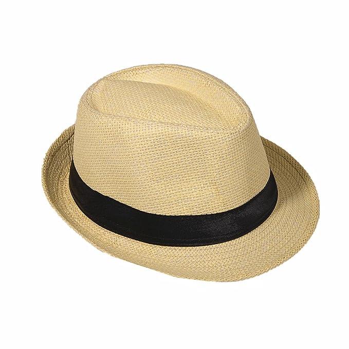 Miobo Sombrero de Paja Panamá Fedora Sombrero Gangster Sombrero Sombrero  con Cinta de Tela Street Style  Amazon.es  Ropa y accesorios 6837ef1b169