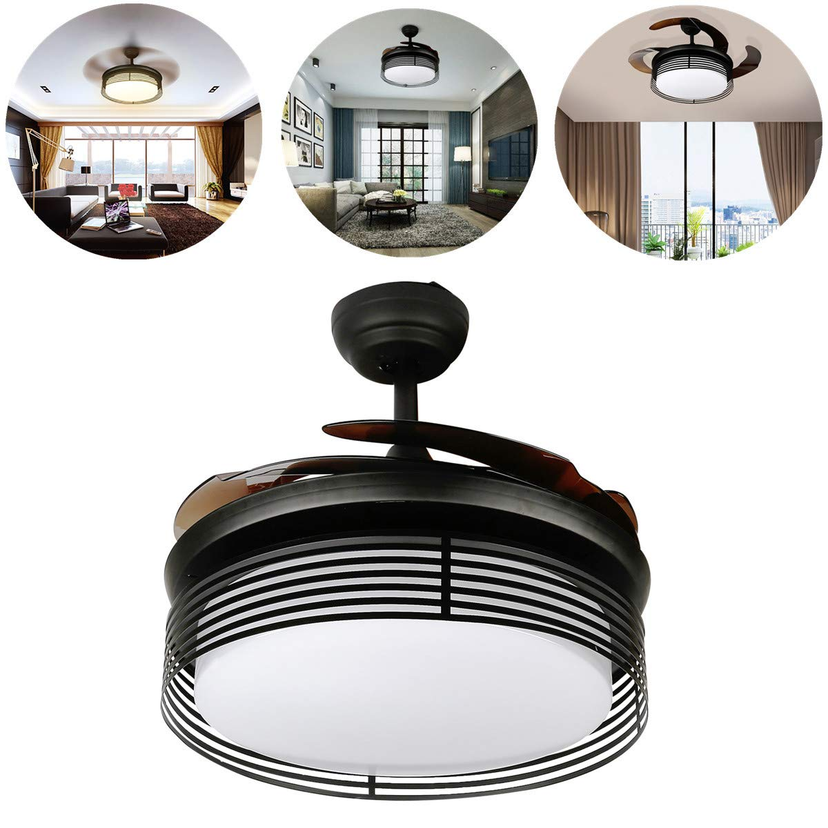 TC-Home 42 inch Ceiling Fan Light Kit Retractable 3 Color Changing Dimmable 3 Speeds w/remote