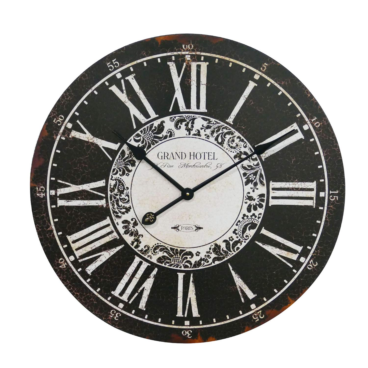 NIKKY HOME Grand Hotel Wall Clock, 23'', Ebony