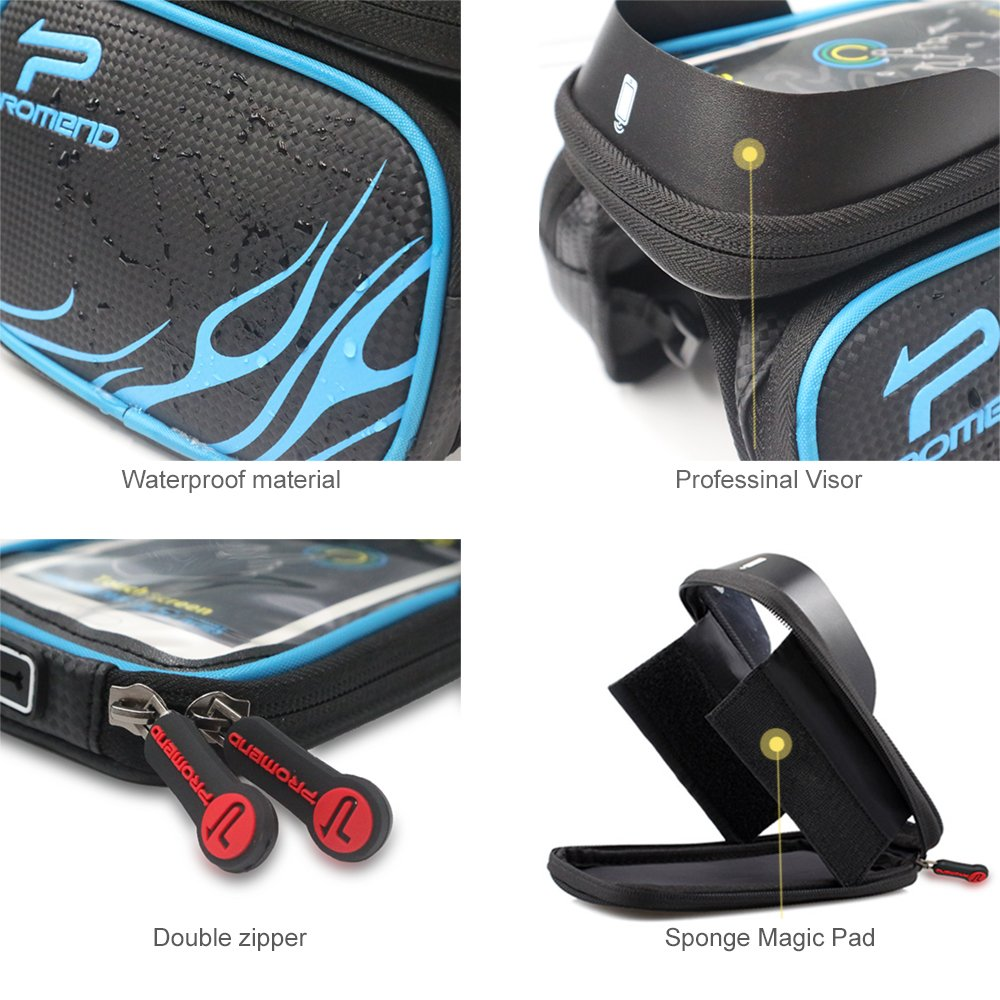 Bike Frame Bag Bike Pouch XBoze Cycle Top Tube Bag Double Pouch Water Resistant Phone Pannier with Removable Touch Screen Phone Case for Smartphone Below 6.2 inch