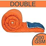 Divine Casa Sofitel Solid Polyester Double Comforter - Vermillion Orange and Insignia Blue