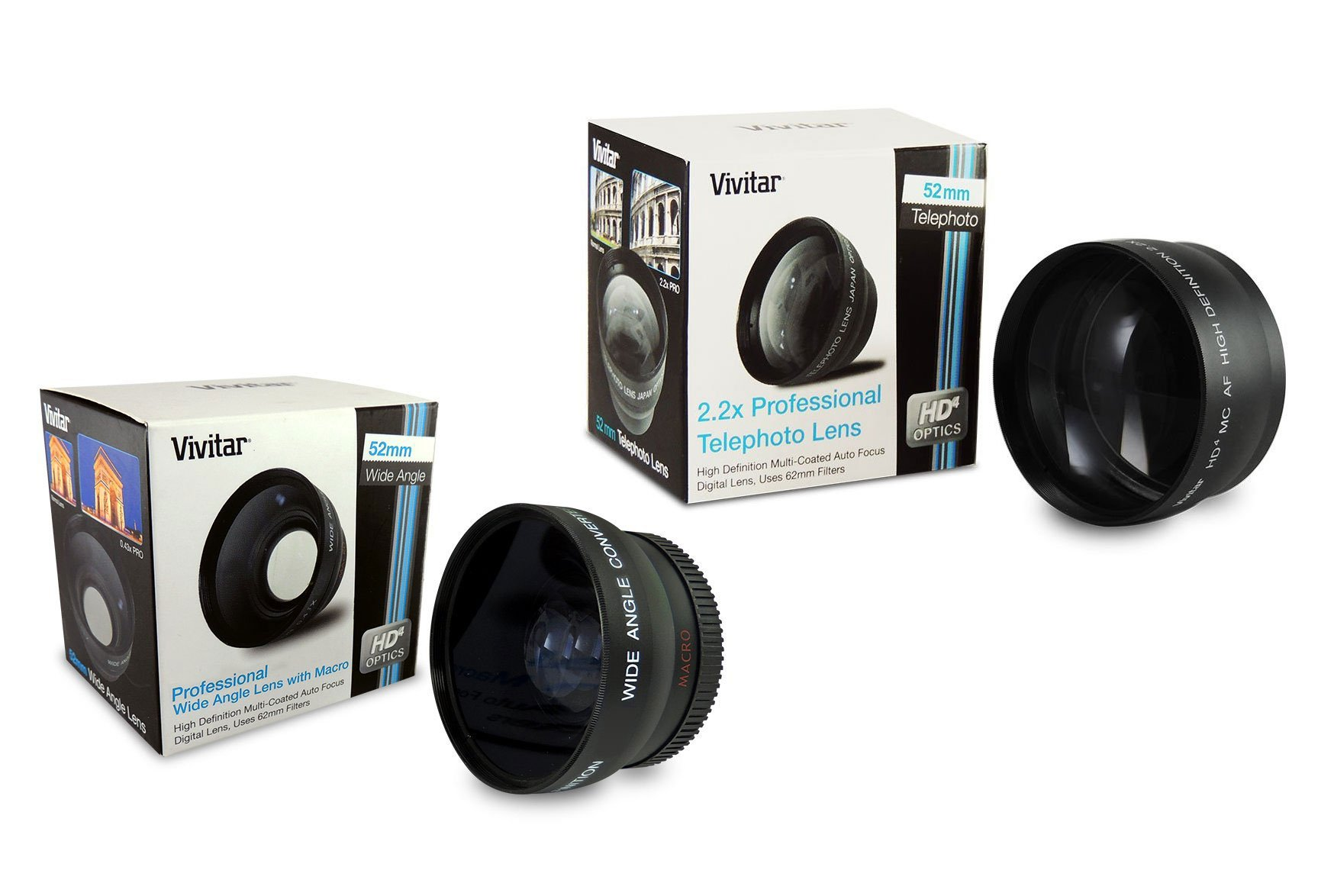 52mm Lens Bundle: Vivitar 2.2x Telephoto and 0.43x Wide Angle High Definition w/Detachable Macro Lens for Cameras with 52mm Filter Threads