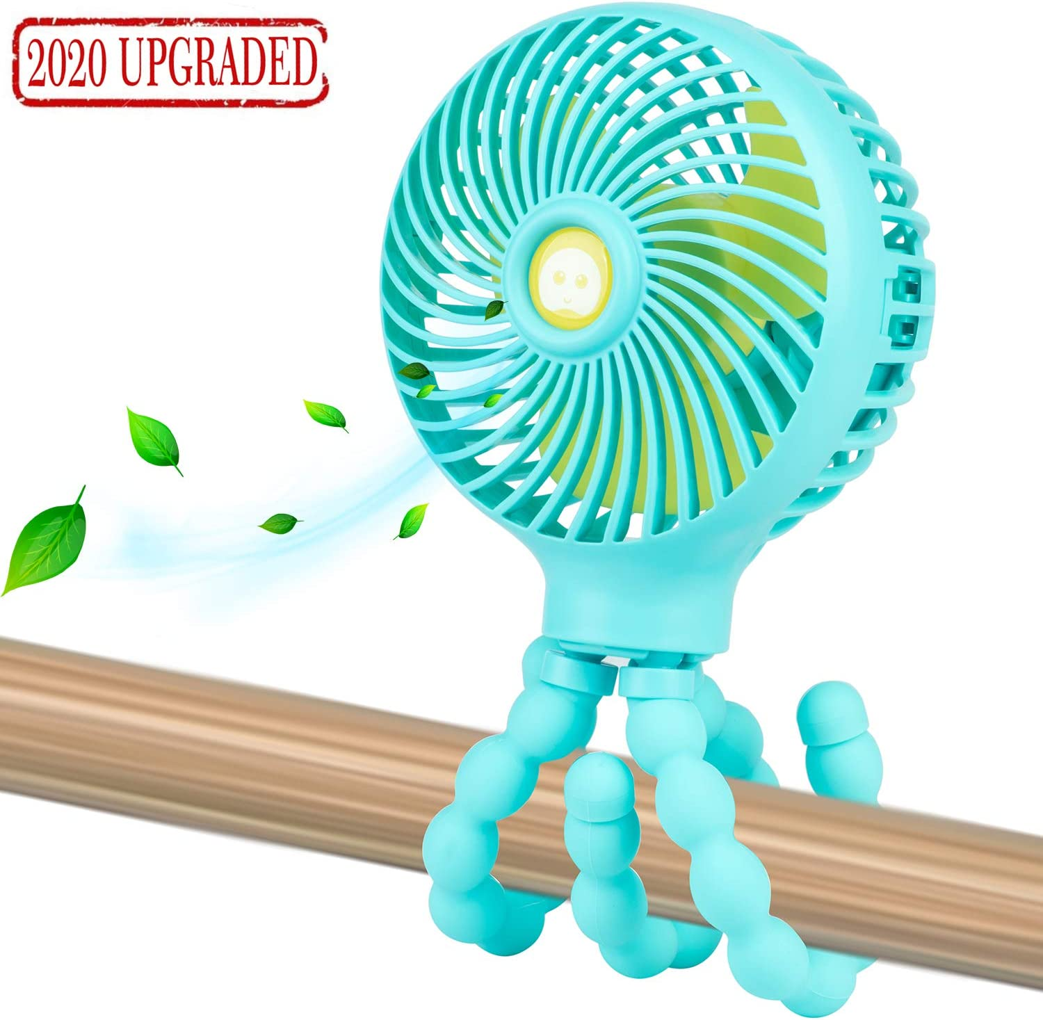 Mini Handheld Personal Portable Fan, Baby Stroller Fan, Car Seat Fan, Desk Fan, with Flexible Tripod Fix on Stroller/Student Bed/Bike/Crib/Car Rides, USB or Battery Powered (Light Blue)