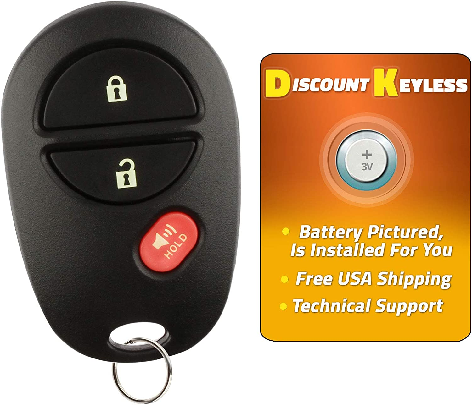 Discount Keyless Replacement Key Fob Car Remote For Toyota Tacoma Tundra Sequoia Highlander GQ43VT20T 2 Pack