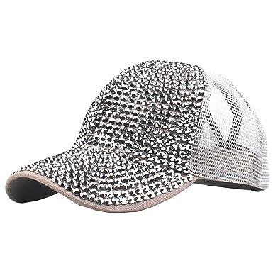 TANGSen Women Rhinestone Baseball Cap Topee, Adjustable Denim Cap Fashion Casual Mesh Dad Hat (A, One Size) at Amazon Mens Clothing store: