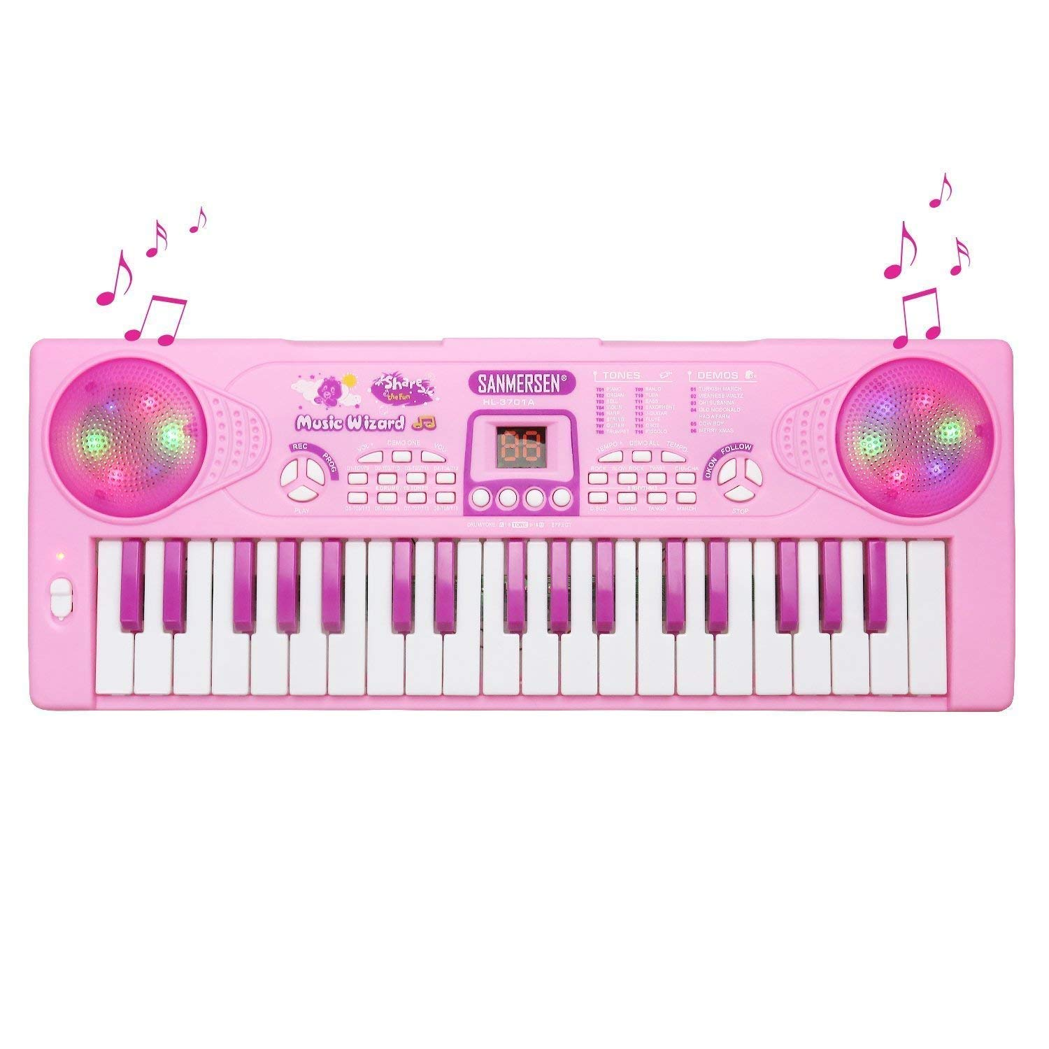 M SANMERSEN Kids Piano Keyboard 37 Key Multi-function Portable Electronic Digital Piano Play with Double Speakers Colorful Lights Educational Toy for Toddlers Children (Pink)