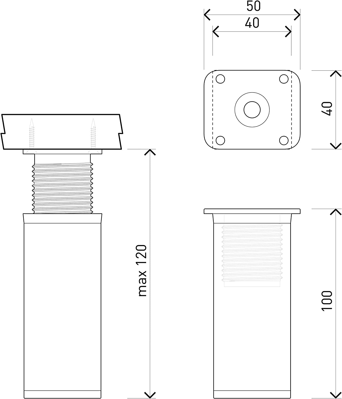 Altura: 60mm altura regulable +20mm Perfil cuadrado: 40 x 40 mm Patas para muebles | Tornillos incluidos 8 piezas Sossai/® MFV1-IX0 Dise/ño: Inox