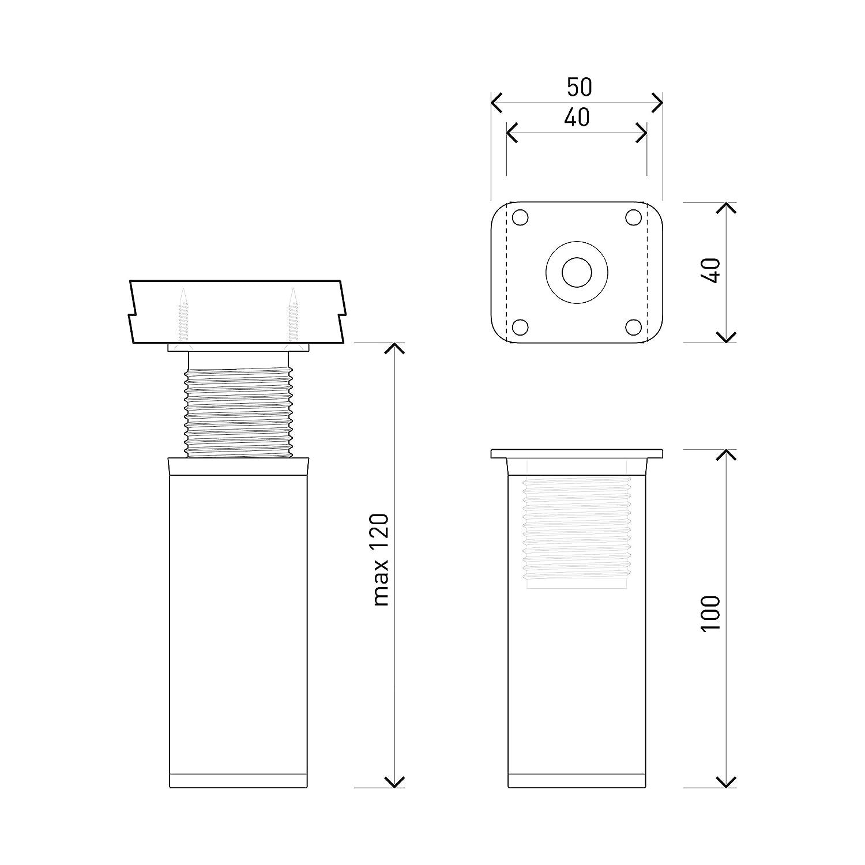 +20mm Patas para muebles Sossai MFV1-CH | Tornillos incluidos Altura: 120mm 4 piezas altura regulable Perfil cuadrado: 40 x 40 mm Dise/ño: Cromo