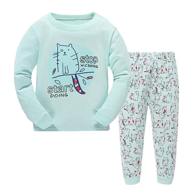 Bebone Pijama Cartoon Gato para Niños o Niñas Conjuntosde top + Pantalones Largas Algodón (Celeste