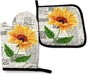 VunKo Watercolor Sunflowers Oven Mitts and Pot Holders Sets Heat Resistant Oven Gloves with Non-Slip Surface for Safe BBQ Cooking Baking Grilling Set of 2