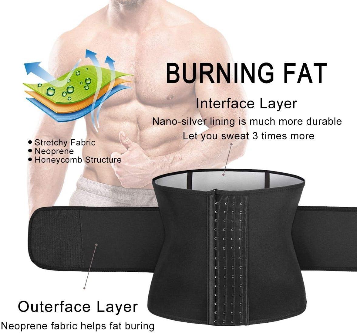 Yamadan Mens Neoprene Sauna Waist Cincher Slimmer Trainer Belt Belly Sweat Wrap Trimmer Workout Bands for Weight Loss