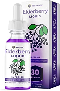 True Recovery Elderberry Liquid - 200mg of Superior Immune System Support Organic Elderberry Fruit Extract. Zero Added Sugar, Non-GMO, Herbal Supplement. 30 Servings of Elderberry Immunity Booster
