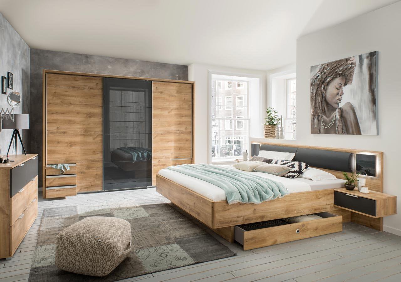 lifestyle200living Schlafzimmer Komplett Set in Eiche-Dekor und grau,  20-teilig  Modernes Komplettset mit Schwebetürenschrank und Bett, inkl.