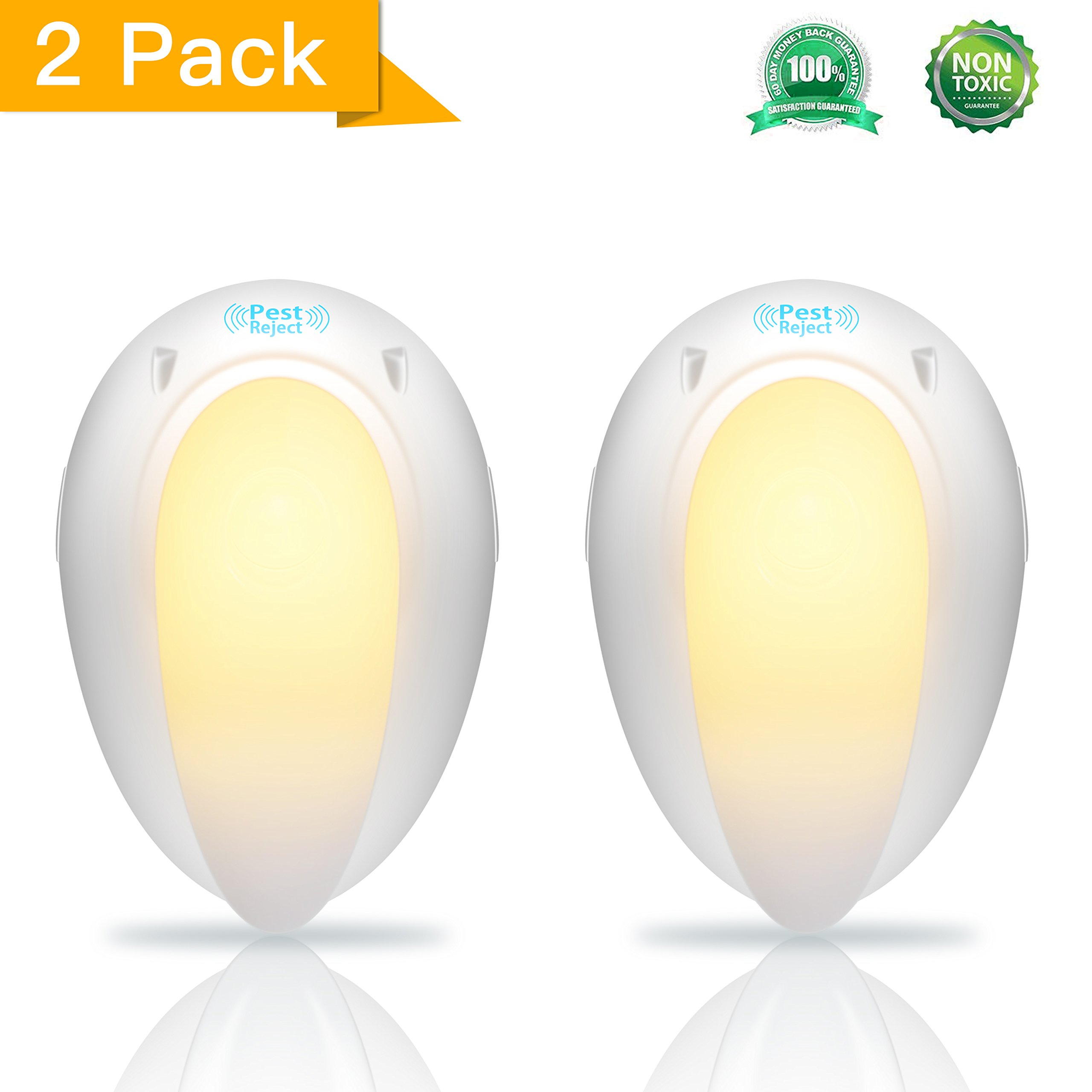 Safky Ultrasonic Pest Repellent (2-pack) Electronic Bug Repellent Indoor with Night Light, Best Pest Control Repeller and Get Rid of Mosquitoes, Bugs, Insects, Rats, Fleas, Rodents, etc