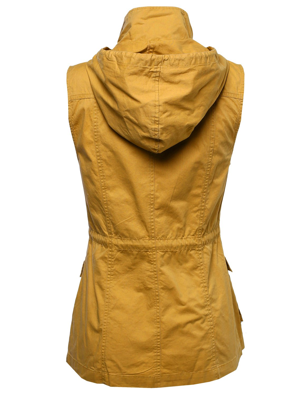 Sleeveless Safari Military Hooded Vest Jacket Mustard M by Made by Emma (Image #2)