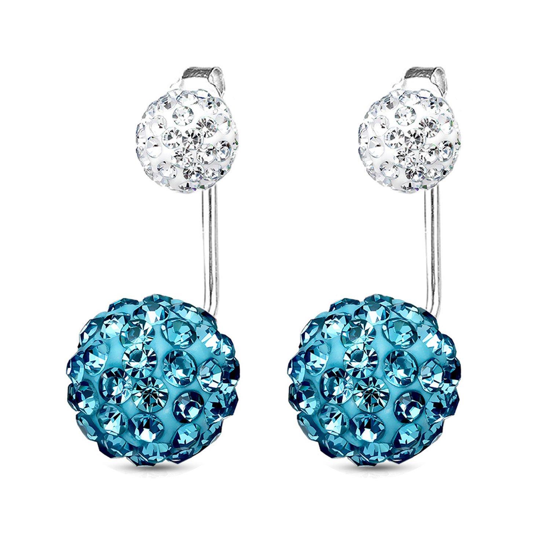 BodyJ4You Earrings Jacket Ear Stud Reverse Crystal Paved Ball Jewelry Set