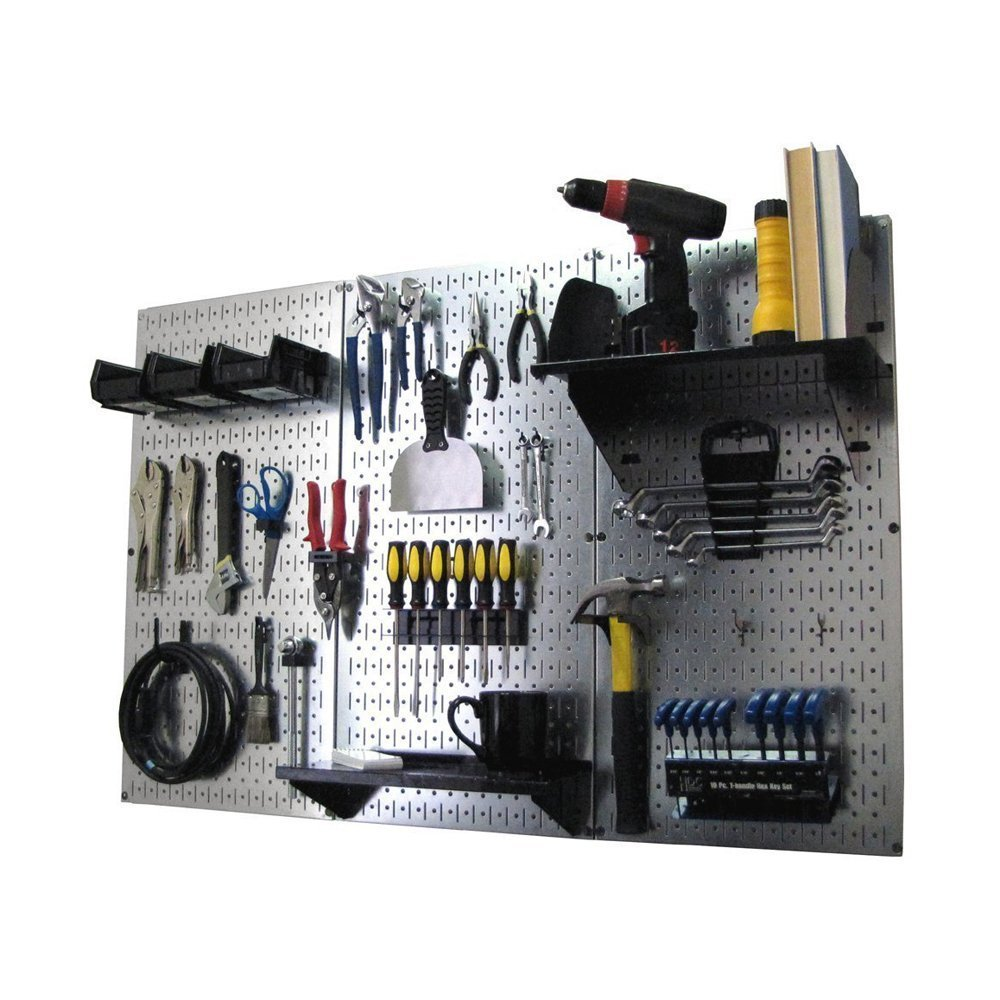 Pegboard Organizer Wall Control 4 ft. Metal Pegboard Standard Tool Storage Kit with Galvanized Toolboard and Black Accessories