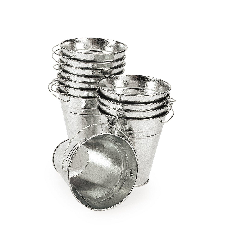 Large galvanized metal buckets 1 dozen ebay for Galvanized metal buckets small