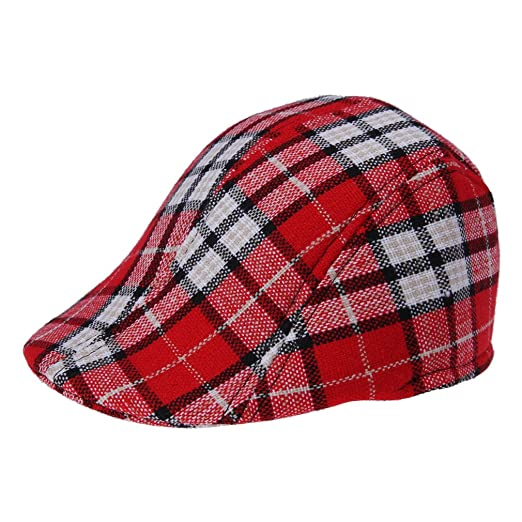 Bigood Child Flat Cap Hat Gatsby Ivy Newsboy Ascot Peaked Plaid Berets Red b441a1c85fb