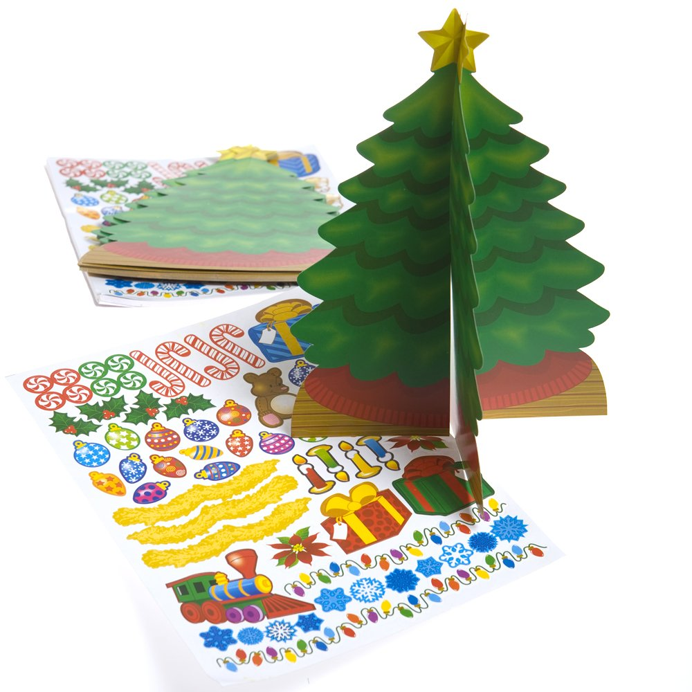 Fun365 3D Christmas Trees with Stickers-12 per Pack